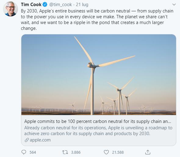 Tim Cook annuncia il piano zero emissioni