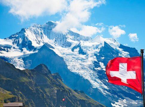 Svizzera, Alpi, Bandiera, Montagna, Vetta