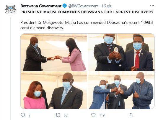 Botswana President Mokgweetsi Masisi and the 1098 diamond