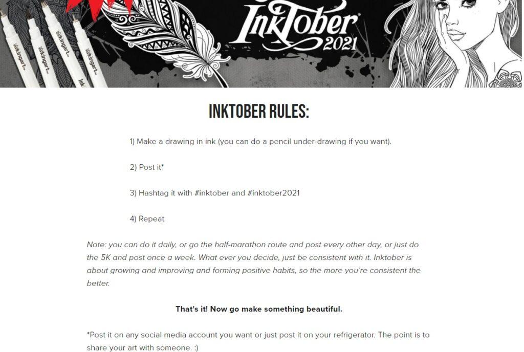 Le regole su come partecipare all'Inktober